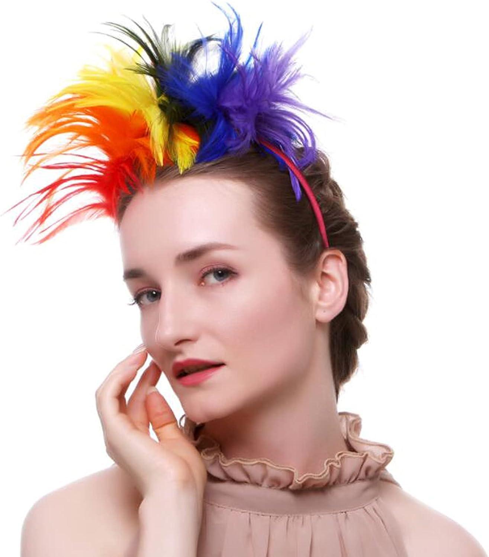 1920s Fascinator Coloured Feathers Headband Women Tea Party Hat Kentucky Derby Halloween Feathers Hair-Clip