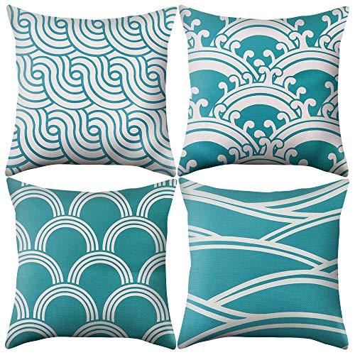Shujin 4pcs/Set Linen Look Geometry Pattern Decorative Cushion Cover for Home Sofa Bedroom Decoration
