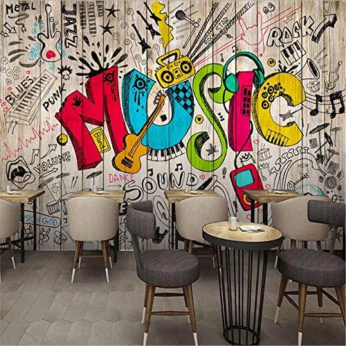 PSiFound® 3D Wandbild Selbstklebende Tapete Musik Farbe Gitarre Graffiti (200X150Cm) Kinderzimmer Tapete Poster Fototapete Junge Mädchen Schlafzimmer Raumdekoration Umweltschutz