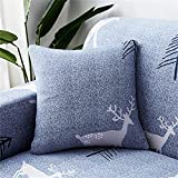SUUZQK Funda De Almohada De Textiles para El Hogar para Decoración De Interiores De Dormitorio Funda De Almohada Bordada De Alce De Crisantemo Cuadrado 4Pcs 18x18Inch(45x45cm