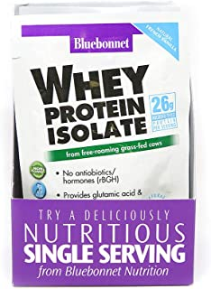 Bluebonnet Nutrition Whey Protein Isolate Powder, Whey From Grass Fed Cows, 26g of Protein, No Sugar Added, Non GMO, Glute...
