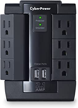 CyberPower CSP600WSU 6-Outlet Swivel Surge Protector w/ 2 USB