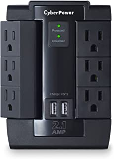CyberPower CSP600WSU Surge Protector, 1200J/125V, 6-AC Swivel Outlets, 2 USB Charging Ports, Wall Tap Design