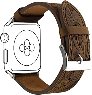 NUOYOU Watch Band 42mm Replacement Apple iWatch 42mm Genuine Leather Relief Replacement Watch Band (Crazyhorse,42mm)