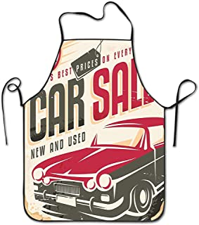 Huayuanhurug Nostalgic Car Sale Sign New and Used Auto Advertising American Style Urban Life Apron for Kitchen BBQ Barbecue Cooking Chef Gift for Women/Men