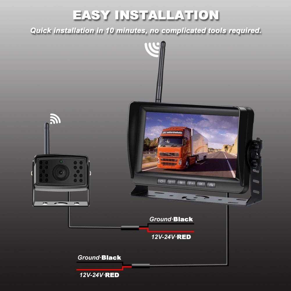 Pickup Van Bus Digital Wireless Backup Camera Kit Farm Trailer Niloghap Upgrade HD Observation System 7 inch Built-in DVR Monitor and Night Vision IP69 Waterproof Rear View Camera for Truck RV