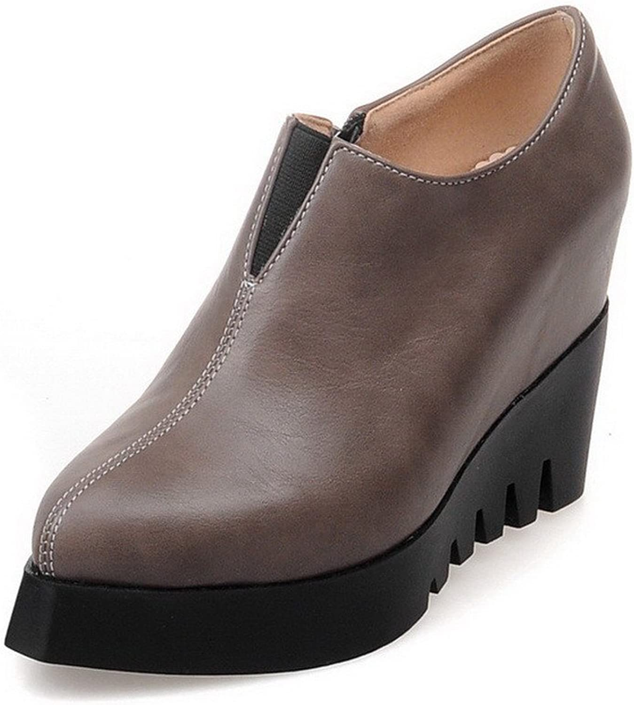 WeenFashion Women's Pointed Closed Toe Kitten Heels Solid Zipper Pumps shoes