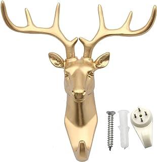 Cabeza de ciervo Evilandat, cornamenta para colgar en la pared, perchero con forma de animal, regalo decorativo., dorado
