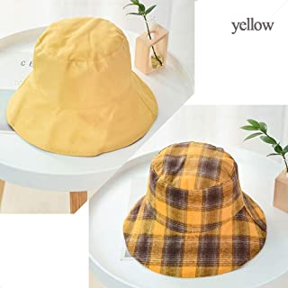 Women's Double-Sided Design Fisherman Hat, Foldable, Simple Fashion Sun Hat, Plaid Fisherman Hat, Summer Outdoor Fishing, Travel, Beach Hat (Color : Yellow)