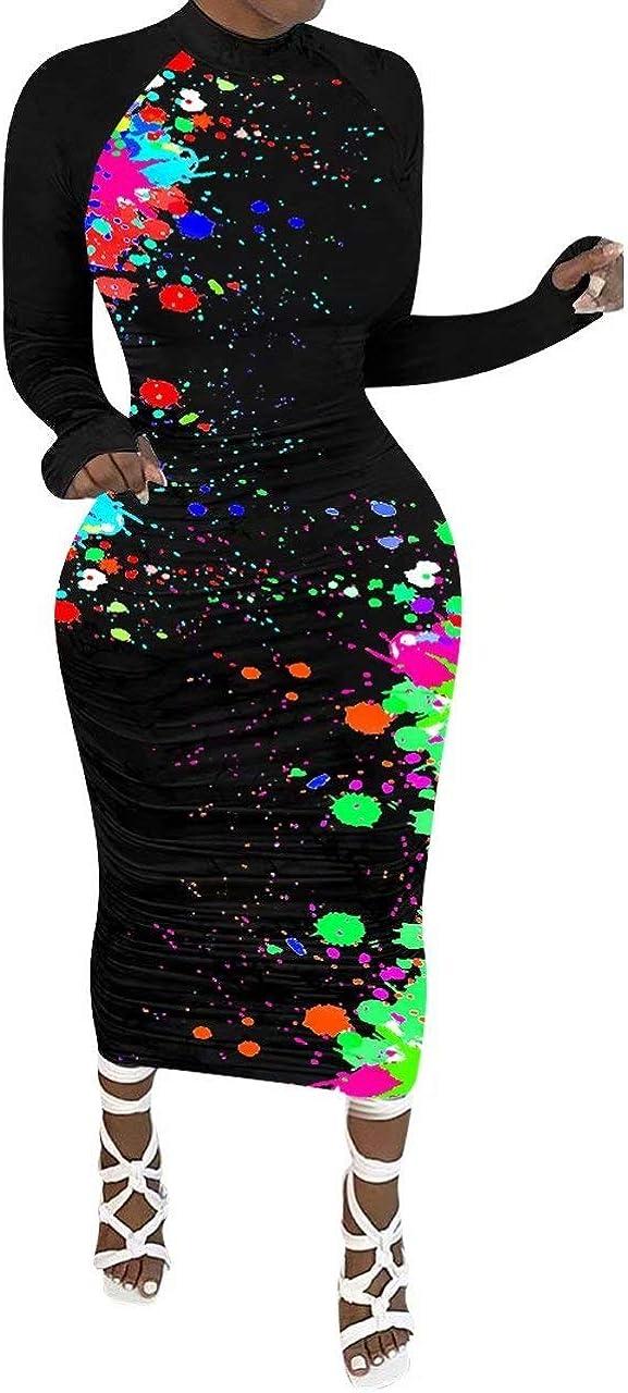 LKOUS Women Casual Fall Bodycon Long Sleeve Turtleneck Party Elegant Midi T-Shirt Dress Plus Size