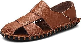 メンズサンダル 包頭革通気性のビーチシューズ、夏のメンズアウトドアシューズ、滑り止めラバー滑り止めの靴 (色 : A, サイズ さいず : 43)