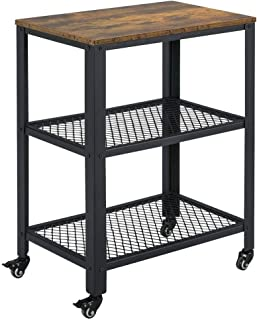 Yaheetech Industrial Side Table with Storage Shelves, 3-Tier End Table for Living Room, Easy Assembly, Wood Look Accent Furniture with Metal Frame, Rustic Brown