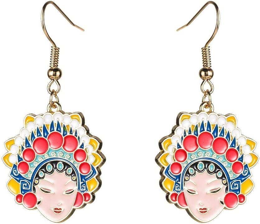 JUNJIAGAO-Kitchen Earrings Same Under blast sales day shipping Chinese Style Opera Beijing Facebook
