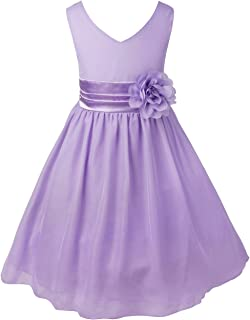 Girls Sleeveless V-Neck Pleated Waist with Flower Party Dress Wedding Bridesmaid Pageant Chiffon Dresses