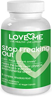 Love Me Nutrition® - Stop Freaking Out - Anti-Anxiety Stress Formula Men & Woman. Supports Peaceful Mind Body Soul- Serotonin Level Increase Natural No Artificial Ingredients 60 Vegi Caps