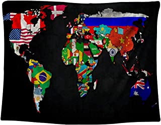 Gloria Nelly World Map and National Flags Tapestry,Digital Printed Wall Hanging,Hanging Dorm Bedroom Living Room Decorations,60