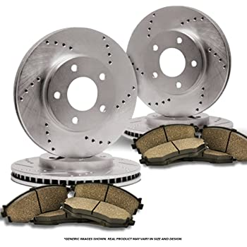Fit 2006-2014 Honda Ridgeline Black Hart Full Kit Brake Rotors+Ceramic Pads