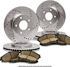 Heavy Tough-Series 4 Semi-Metallic Pads Fits:- 4lug 2 Black Coated Cross-Drilled Disc Brake Rotors Rear Kit