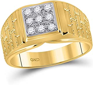 FB جواهر الذهب الأصفر 10kt رجل جولة الماس الطوب مربع الدائري 1/4 Cttw