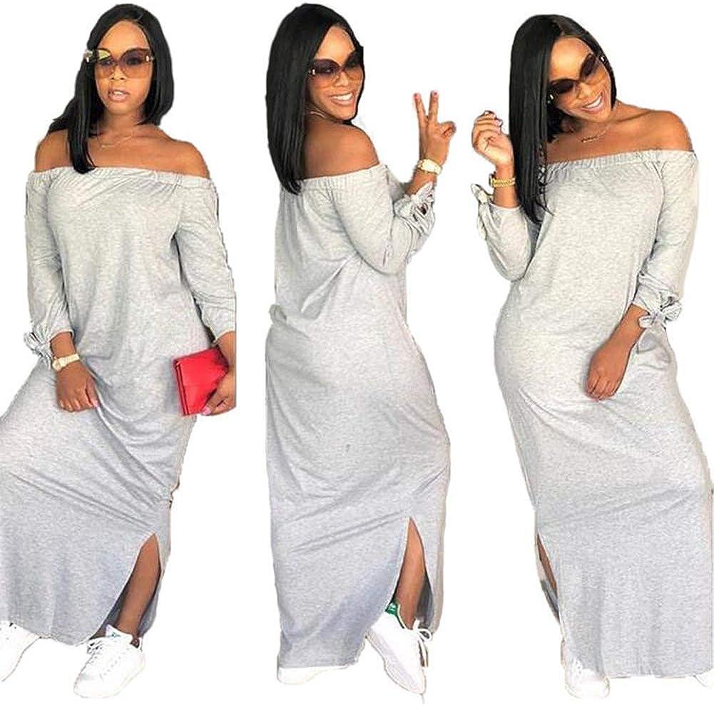 OLUOLIN Women's Casual Letter Print Off Shoulder Long Sleeve Bowknot Sides Slit Loose Long T-Shirt Maxi Dress