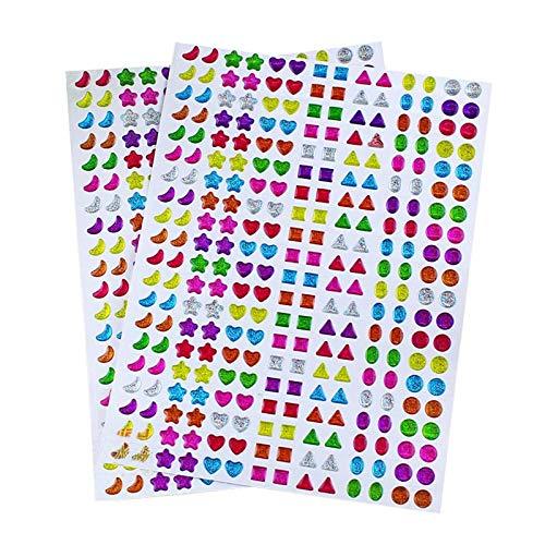 Gasou 840 Pares de Pendientes de Pegatinas 3D Gemas Pegatinas niñas Pegar Pendientes