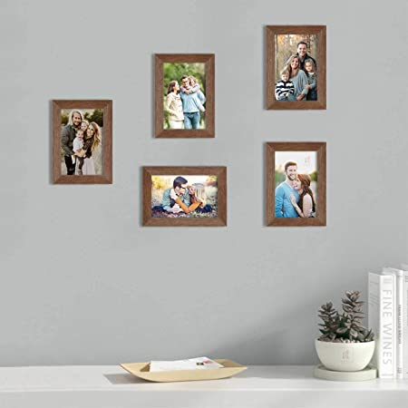 Art Street Set of 5 Brown Wall Photo Frame, Picture Frame for Home Decor with Free Hanging Accessories (Size -5x7 Inchs)