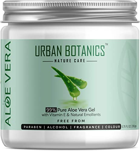 UrbanBotanics 99% Pure Aloe Vera Skin/Hair Gel With Vitamin E & Natural Emollients (Paraben Free), 200g product image