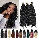 Crochet Curly Hair Water Wave Crochet Hair Curly Braiding Hair Curly Crochet Hair For Black Women Marlybob Crochet Hair 14 Inch 3PCS (1B)