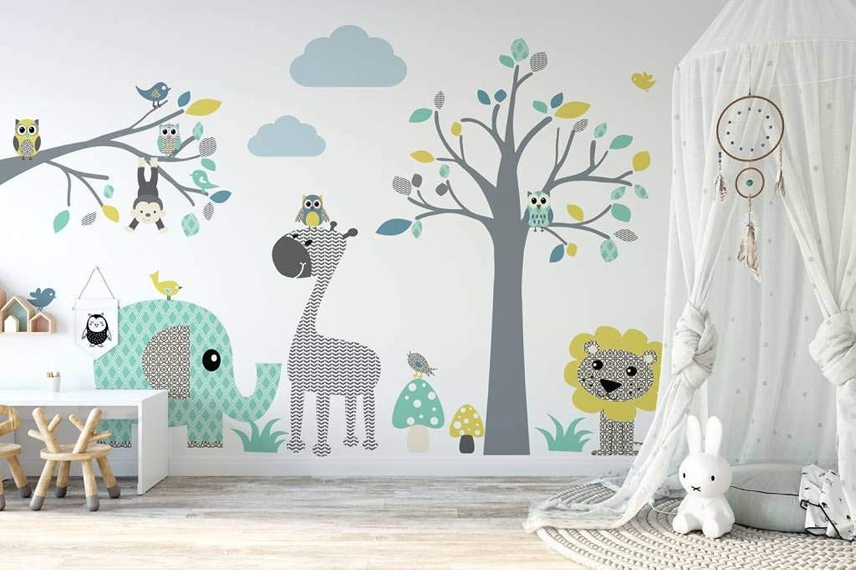 Wandaufkleber Baum + Ast Safari blau. Wandbild für das Babyzimmer