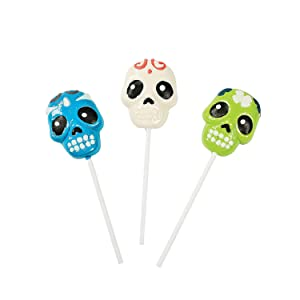 Day of the Dead Sugar Skull Suckers- Set of 12, Individually wrapped. - Halloween, Day of the Dead and Cinco de Mayo Candy