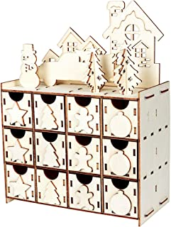 Aytai DIY Wooden Advent Calendar Christmas Advent Calendar 2019 with 24 Drawers, 24 Days Countdown Calendar for Christmas Holiday Decorations
