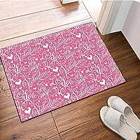 HiYash バレンタインデー風呂敷物十代の女の子グラマー愛してるピンクの背景滑り止め玄関マット床玄関屋内正面玄関マットキッズバスマット15.7x23.6inバスルームアクセサリー