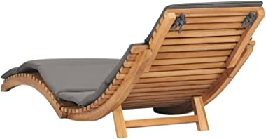 paritariny Lounge Chair Outdoor Patio Folding Sun Lounger Lounge Chairs for Pool Outside with Dark Gray Cushion Solid Teak Wo
