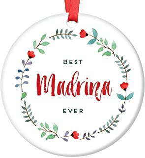 Best Madrina Ever Christmas Ornament Spanish Godmother Baptism Sponsor Ceramic Keepsake Holiday Present for Special Aunt Female Family Friend 3