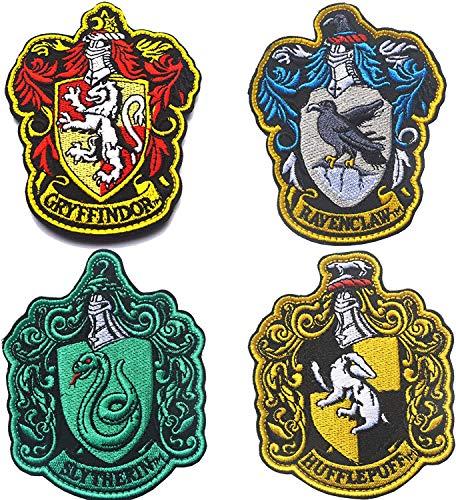 Toppa con stemma di Harry Potter House of Gryffindor House Hogwarts con gancio e anello di supporto 10 x 8 cm, colore pieno patch per cappotti, giacche, cappotti, cappelli, zaini, 4 pezzi