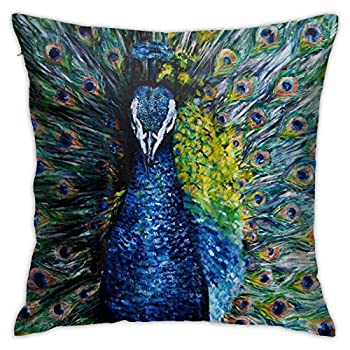 Watercolor Oil Painting Peacock Throw Pillow Cover Case for Couch Sofa Home Bedroom Car Decoration Indoor/Outdoor 18x18 Inches Peacock