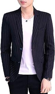 BYIOTRT テーラードジャケット メンズ 2釦 ストライプ 長袖 ビジネス カジュアル ノッチドラペル スリム ジャケット オールシーズン