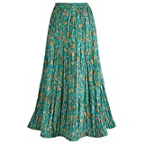 Women's Long Reversible Peasant Skirt - Boho Floral Green/Gold Patchwork Cotton Maxi Skirt Bottom - 1X