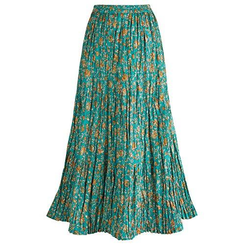 Women's Long Reversible Peasant Skirt - Boho Floral Green/Gold Patchwork Cotton Maxi Skirt Bottom - 2X
