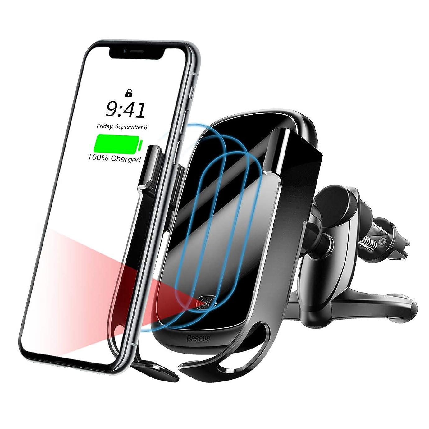 適合行列九時四十五分車載Qi ワイヤレス充電器 車載 ホルダー Baseus 赤外線センサーによる自動開閉 10W 7.5W 急速ワイヤレス充電器 吹き出し口用 360度回転 片手操作 iPhone 11 Pro X XR XS Max 8 8Plus Galaxy S10 Note 10等ワイヤレス充電機種に対応 (ブラック)