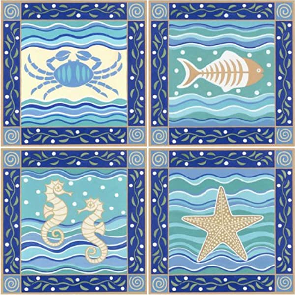 CoasterStone AS9610 Absorbent Coasters 4 1 4 Inch Coastal Icons Set Of 4