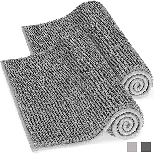 Yosemy 2 Stuck rutschfest Badematte Grau Badezimmerteppich 50x80cm Weich Hochflor Badvorleger aus Mikrofaser Chenille Duschvorleger Duschteppich für Dusche,Badezimmer,Küche