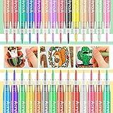 Bellababy Acrylstifte Marker Stifte,Wasserfeste Stifte,28 Farben Metallic Marker Paint Pen, Acrylfarben Stifte Set 0,7mm Permanent Metallischen stifte Set für DIY Stein, Leinwand, Papier, Glasmalere