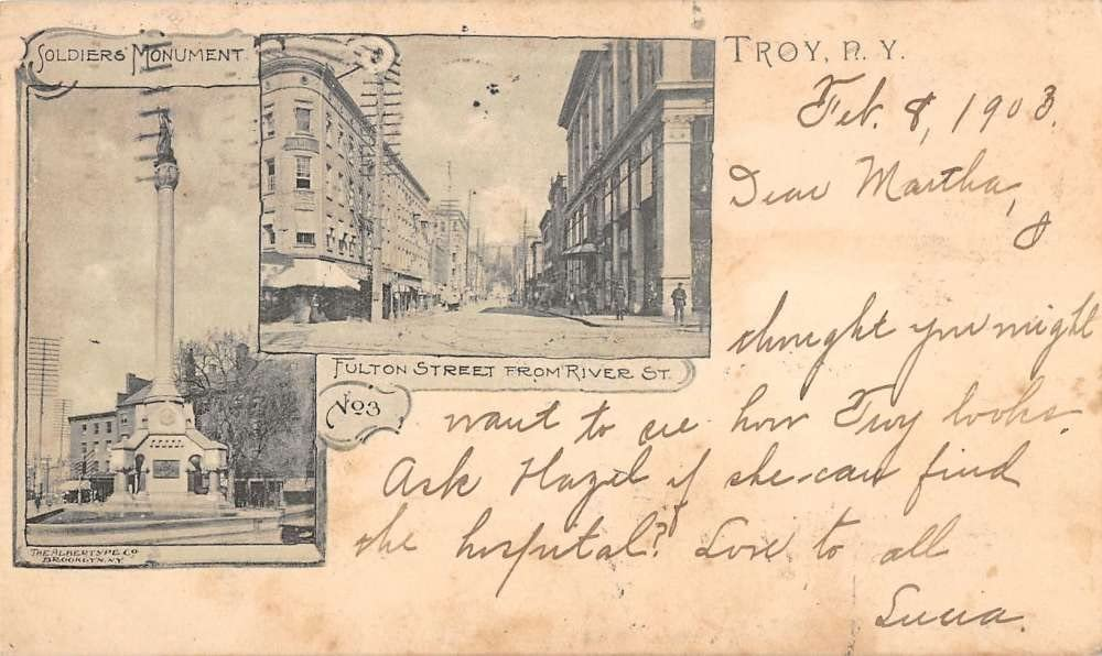 troy new york fulton postcard Chicago Mall street Max 67% OFF L4663 antique