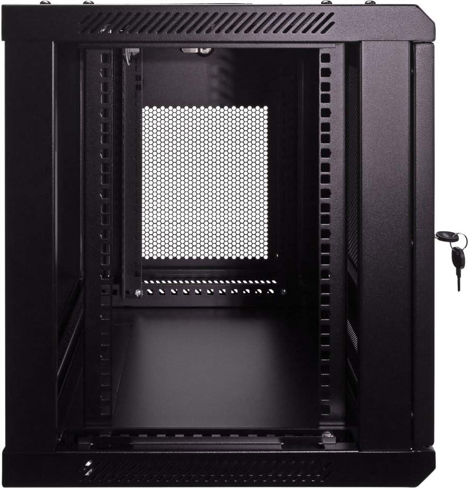 NavePoint 9U Deluxe IT Wallmount Cabinet Enclosure 19-Inch Server Network Rack with Locking Perforated Door - Black