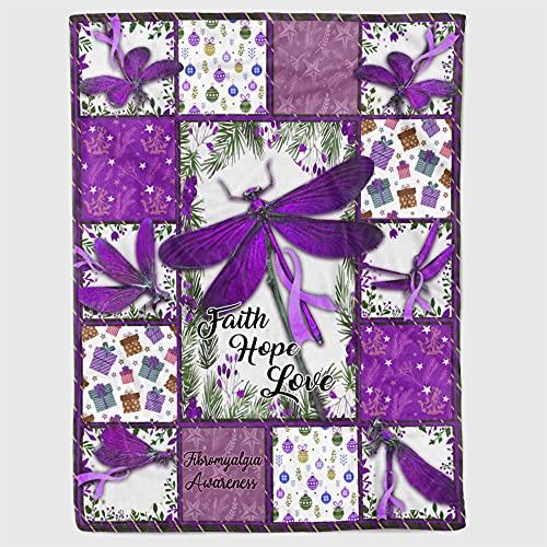 Faith Hope Love Purple Ribbon Butterfly Fibromyalgia Awareness Fleece...