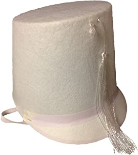 Drum Major White Felt Hat with Chin Elastic