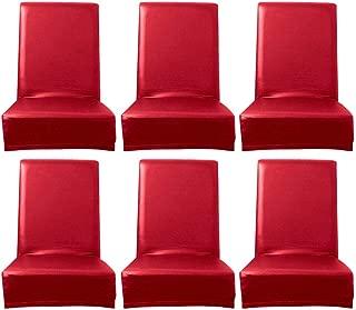 Levoberg 4PCS Housse de Si/ège de Chaise Imperm/éable en Cuir Artificiel Housse de Chaise Salle /à Manger Protection D/écor pour Maison Restaurant Rouge