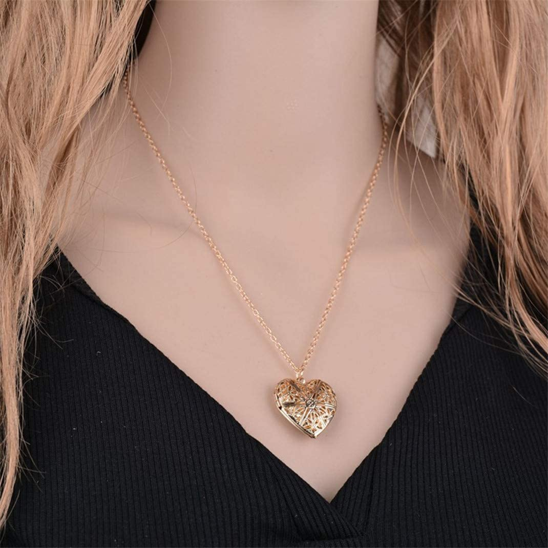 Airlove Heart Locket Necklace for Women Carved Necklace Holds Photo Frame Memory Locket Pendant Necklace Birthday Gifts for Girls Boys