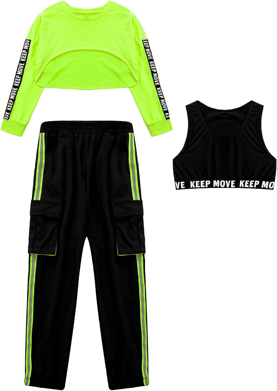 Yeeye Kids Girls 3 Piece Hip Hop Dance Outfits Long Sleeve Sweatshirt Sports Bra Jogger Pants Set